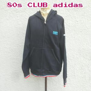 【80s】美品/クラブアディダスCLUB adidas×バイオフィックスBIO-FIX/デサント製/ビンテージ/ヴィンテージ/刺繍ロゴ/フルジップパーカー/黒/