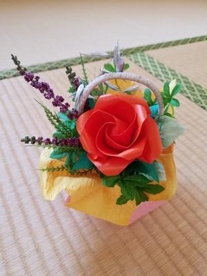 折り紙のバラ小物フラワーアレンジメント