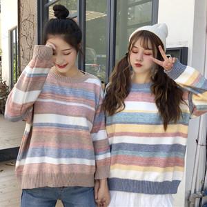 【トップス】キュート虹配色ボーダーゆったりニットセーター