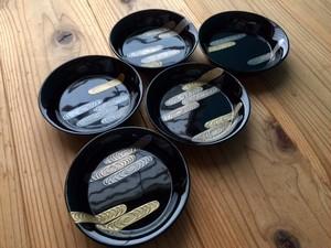 絵替り流水紋金銀蒔絵銘々皿