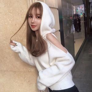 【tops】着痩せセクシー無地フード付きセーター24004787