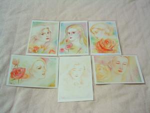 薔薇と女性詩画私製ポストカード6枚セット