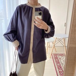 piping bandcollar blouse【navy】