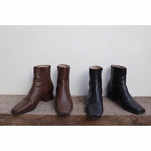2color:Square Toe Eco Leather Short boots スクエアトゥ フェイクレザー ブーツ