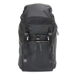 LORINZA Nylon Twill Square Pocket Backpack Black LO-STN-BP08