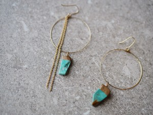 turquois hoop earrings/gold