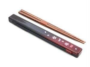 スリム箸箱セット茜桜赤
