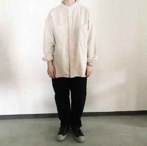 ドビーツイル両面起毛スタンドカラーオーバーサイズシャツ   prit