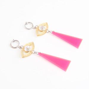 SHI★SEN earrings - gold-pink -