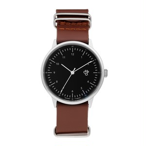 HAROLD【CHPO】 Black dial. Dark brown leather strap