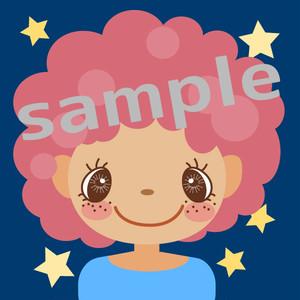 ピンクのカーリーヘアーの女の子のアイコン