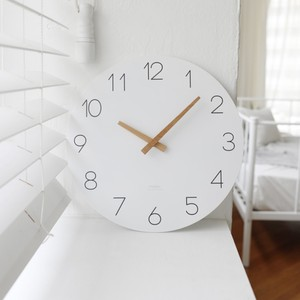 simple wood white wall clock / シンプル ウッド ホワイト 壁掛け時計