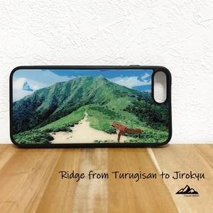 剣山 次郎笈 稜線 強化ガラス iphone Galaxy スマホケース アウトドア 登山 山 ブルー グリーン 四国 徳島