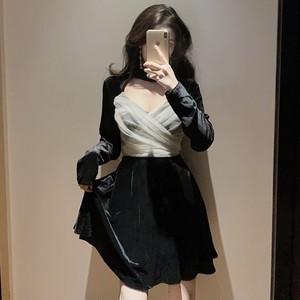 【ワンピース】ファッションアバンギャルドセクシーメッシュ切り替えワンピース