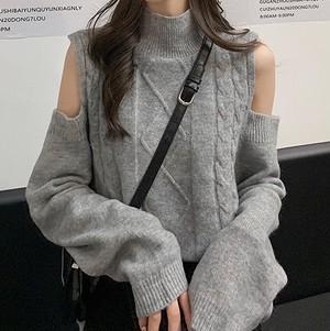 【トップス】秋冬ファッションコーデオープンショルダプルオーバーゆったりニットセーター