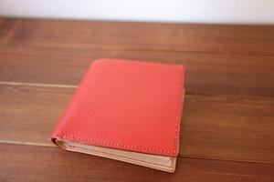 二つ折り財布 イタリアンレザー オレンジ×ナチュラル