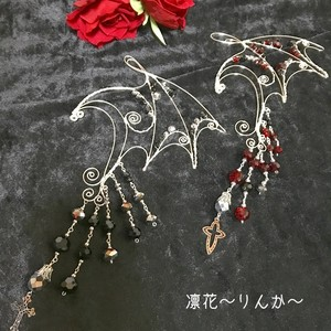 イヤーフック 蝙蝠(シルバー×黒、赤)
