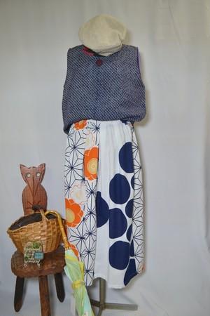 【ハンドメイド】浴衣生地でつくったスカート☆オレンジの梅と麻の葉
