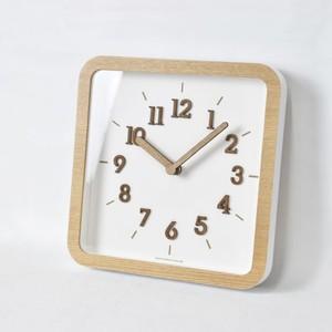 square wood wall clock / スクエア ウッド ウォールクロック ナチュラル 木製 四角 壁掛け時計 韓国 雑貨