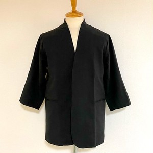 3/4 Sleeve Collar-less Jacket Black