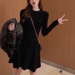 【ワンピース】韓国版INSファッション気質着やせAラインニットワンピース