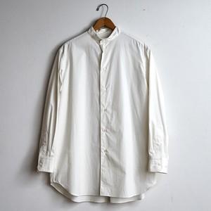 LOEFF ロエフ コットンブロード バンドカラーシャツ  ホワイト(レディース)