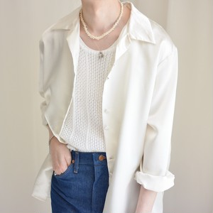 satin loose shirt / pearl white / made in France