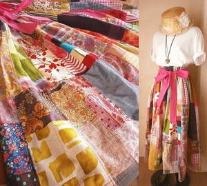 ★GW-Sale!Dreamin' リネン コットン 絵画なパッチワーク ボリューム ティアードスカート