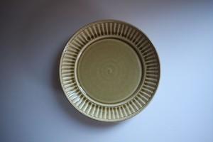 松岡賢司(平安楽堂)|鎬リム皿 L 黄色