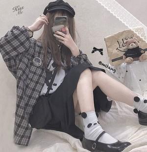 【トップス】日系ins風レトロルーズ長袖少女シャツ