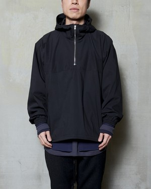 T/f cotton polyester typewriter anorak parka - black