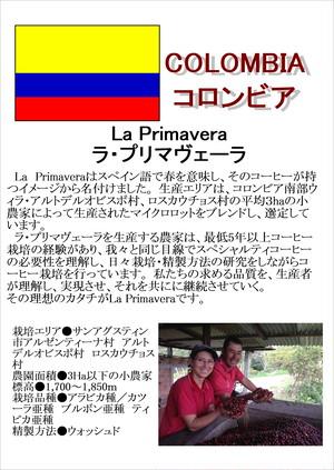 コロンビア(Colombia)・ラ プリマヴェーラ(La Primavera) 中煎り 200g
