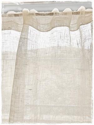 ♥リネンメッシュ*ロッドポケットカーテン【ショート】アイボリーホワイトW80×H50  ♥ セール中 !
