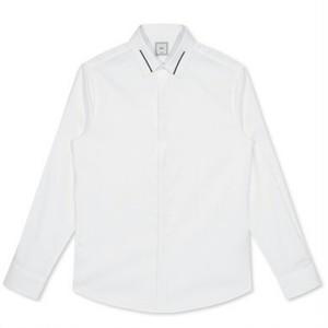 送料無料/メンズ/襟ライン/コットン/白/長袖ワイシャツ