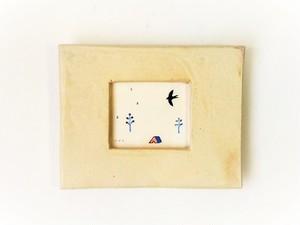 「ツバメ」イラスト原画/陶器の額縁入り