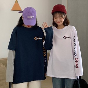 【トップス】偽2点セット韓国風ルーズアルファベットプリントTシャツ