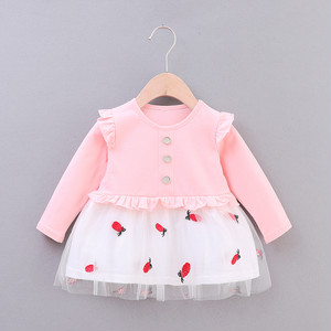 【子供服】韓国風プリントキッズファッション女の子長袖春·秋·ワンピース22740831