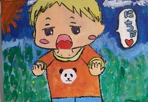 【絵画】虎太郎お兄ちゃんと散歩(アニメキャラをキャンバスに描きました。)