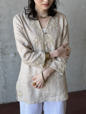 Vintage Linen Embroidered Tunic Top