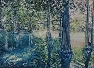 湖の中の木