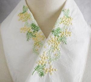 刺繍半衿・ミモザ・ハンドワッシャーの布