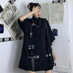 【トップス】ストリート系かっこいい無地ベルト付きファッションシャツ32101323