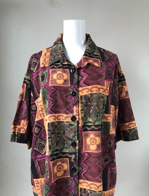 USED / Ethnic flower pattern rayon s/s shirts
