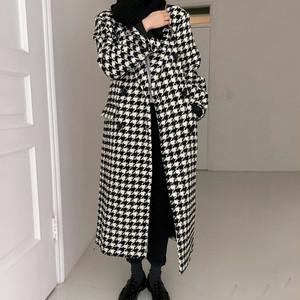 elegant 千鳥格子ロングコート c2004