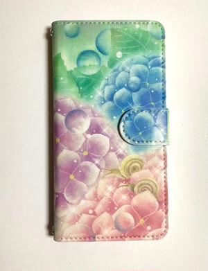 【全機種カメラ穴対応】iPhone/Android手帳型スマホケース 紫陽花