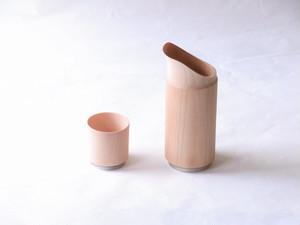 山中塗 木製 くりぬき 冷酒器セット 水目桜 (注器1・ぐい呑み1)