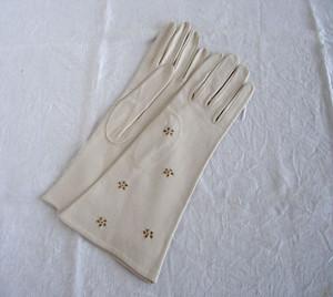 アンティーク ラム革手袋 花カットワーク