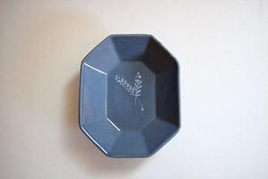 土井善男|紺青8角板皿(イッチン)