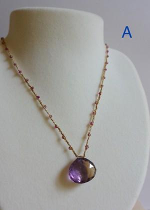 金糸銀糸のネックレス アメトリンのマロン