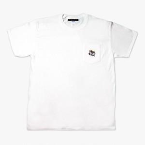 ②ラーメンくん刺繍ポケット白Tシャツ